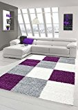 Shaggy tapis Shaggy pile longue tapis tapis de salon Patterned dans Karo design Gris Crème Violet Größe 160x230 cm