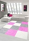 Shaggy tapis Shaggy pile longue tapis tapis de salon Patterned dans Karo Design Cream Gris Rose Größe 60x110 cm