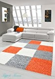 Shaggy tapis Shaggy pile longue tapis tapis de salon Patterned dans Karo Conception Orange Gris Crème Größe 200 x 290 ...