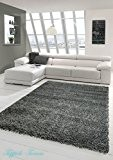 Shaggy tapis Shaggy pile longue tapis tapis de salon Patterned en Uni Conception Gris Größe 60x110 cm