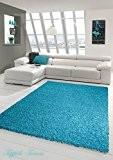 Shaggy tapis Shaggy pile longue tapis tapis de salon Patterned en Uni Conception Turquoise Größe 120x170 cm