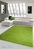 Shaggy tapis Shaggy pile longue tapis tapis de salon Patterned en Uni Vert Design Größe 120x170 cm