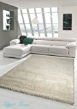 Shaggy tapis Shaggy pile longue tapis tapis de salon Patterned en Uni Design Cream Größe 160x230 cm