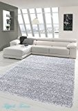 Shaggy tapis Shaggy pile longue tapis tapis de salon Patterned en Uni Conception Gris Größe 140x200 cm