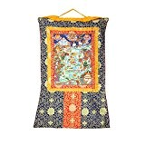 Shalinindia Buddhist Decor - Hanging Silk Canvas Art Scroll - Thangka Mandala Painting, 41x29 Inches