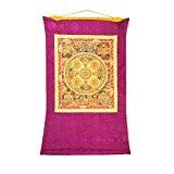Shalinindia Buddhist Thangka Painting - Hanging Silk Canvas Scroll Art - Inspired by ancient Tibetan Mandalas, 41x29 Inches