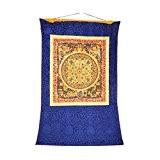 Shalinindia Mandala Tapestry - Hanging Silk Canvas Scroll Art - Colorful Thangka Painting, 41x29 Inches