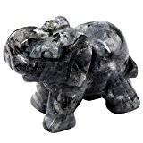 Shanxing Gravé éléphant Cristal Quartz Pierre Énergie Chakra Figurine Statue Décoration 1.5 Pouces,Labradorite