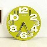 shayson Big chiffres en 3D moderne contemporain Décoration Horloge murale ronde, cuisine maison chambre bureau (Vert)