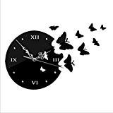 SHINA Nouveau papillon volant 3D bricolage Miroir Horloge murale Design moderne pour Salon Cuisine Suivre Wall Sticker Décoration (noir)