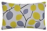 Shinnwa Jaune Gris Branches Polyester Housse de Coussin Cases Decorative pour Canape, 45cm X 45cm