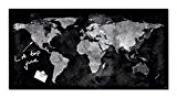 Sigel GL270 Tableau magnétique en verre Artverum 91 x 46 cm - carte du monde, noir/gris