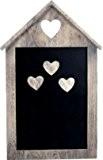 SIL Tableau noir magnétique Design à cœurs Effet vieilli shabby chic 3 aimants en bois en forme de cœurs inclus