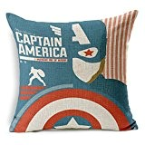 "SilkCrane Housse de Coussin, Captain America Cotton Linen Decorative Throw Pillow Case Cushion Cover, 17.7"" x 17.7"""