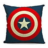 "SilkCrane Housse de Coussin, Captain America's shield Printed Cotton Linen Decorative Throw Pillow Cover, 17.7"" x 17.7"""