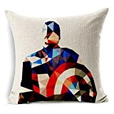 "SilkCrane Housse de Coussin, Geometric Captain America Cotton Linen Decorative Throw Pillow Cover, 17.7"" x 17.7"""