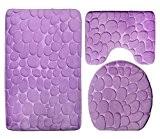 Sinland Ensemble de tapis de bain, contour de lavabo et couverture d'abattant WC (violet)