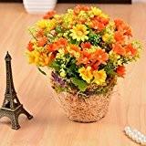 SituMi Faux Gazon artificiel fleurs tisser des paniers de fleurs Accueil créative le décor,Orange Daisy