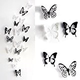 Skyblue-uk 18pcs Stickers Muraux de Papillons 3D Sticker Mural Autocollants Bricolage Papillon Amovible Reutilisable Pour Chambre Salon Room Decor Decal