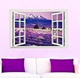 Skyllc® Belle fenêtres 3D lavande paysages Wall Sticker amovible Décoration