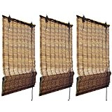 Sol Royal - Lot de 3 Stores Bateau à baguettes Bambou naturel - 120x160 cm - Tamisant - decoratif - ...