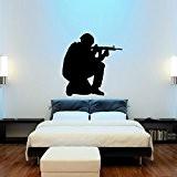 Soldat Gaming Pistolet Décoration Murale Art Stickers Jeu Vidéo Silhouette