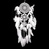 soledi Dream Catcher Attrape-rêves 3 cercles traditionnel indien avec plumes Blanc mur Décoration à suspendre Décoration cadeau