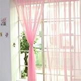 Solide Voilage Rideaux de Fenêtre Transparent Tulle Voile pour Décoration Maison Porte Fenêtre Balcon Chambre Salon Couleur Pure (35g, Rose)