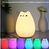 SOLMORE Veilleuse Chat LED USB Rechargeable Blanc Chaud &7 Changement de Couleur Silicone Souple Lampe de chevet pour Chambre d'Enfant ...