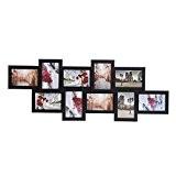 Songmics Cadre Photo Pêle-mêle Mural en Capacité de 10 Photos 10 x 15 cm MDF Noir RPF21H