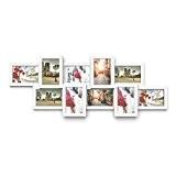 Songmics Cadre Photo Pêle-mêle Mural en MDF Capacité de 10 Photos 10 x 15 cm Blanc RPF21W