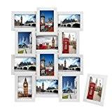 Songmics MDF Cadre Photo Pêle-mêle Mural Capacité de 12 Photos blanc +1 cadre photo sur table offert RPF112W