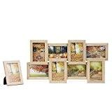 Songmics MDF Cadre Photo Pêle-mêle Mural Capacité de 8 Photos couleur de bois +1 cadre photo sur table offert RPF108Y