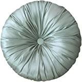 SORRENTO imitation soie Bleu-Coussin rond Argenté 15,7 cm de diamètre avec garnissage 100% Polyester