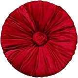 Sorrento Tissu en velours rouge Coussin rond 39,9cm Dia avec garnissage 100% Polyester