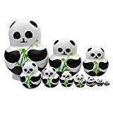 Souarts Matriochka Poupées Russes Motif Animals Panda Bois 10Pcs