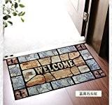 SQZH antidérapant en caoutchouc tapis de paillasson à la porte entrée pour obtenir le tapis tapis de 45x75cm, bleu et ...
