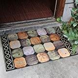 SQZH chaussures de plein air paillasson de grattoir feuille porte avant porte entrée rectangulaire Floral Tapis antidérapant tapis marron caoutchouc ...