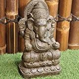 Statue Ganesh en pierre 40cm brun antique