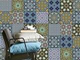 Sticker Carrelage de Décoration | Adhésiv autocollant pour carreau ciment - embellir mur salle de bain et cuisine | Facile ...