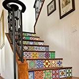 Sticker Carrelage pour Escaliers Motif Talavera (Pack avec 24) (10 x 10 cm)