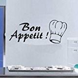 Sticker mural–Bon appétit.... Décoration Murale Papier Peint Chambre Salon Salle de Bain de transfert, Vert pomme, -MEDIUM -SIZE 90cm x ...