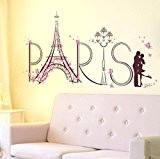 Sticker Mural,Clode® Art Tour Eiffel Paris Amour Vinyl Stickers muraux Accueil mural Decal Decor