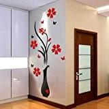Sticker Mural,Clode® DIY Vase Fleur arbre de cristal acrylique 3D Stickers muraux Decal Salon Home Decor