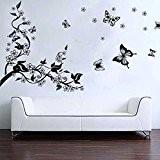 Sticker Mural Illustré par un Arbre Romantique et des Papillons autocollant Decal murale Art (Décalcomanie)
