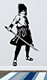 Sticker mural Naruto–Sasuke Uchiha–Ship puuden, Vinyle, noir, Large