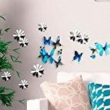Stickers 3D - Pack de 18 papillons bleus et 12 fleurs miroirs