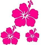 Stickers autocollants 3 fleur d'hibiscus couleur aux choix,voiture,frigo,mur,porte etc... (rose magenta)