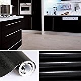 Stickers cuisine 60 x 500 cm meuble Armoires étanche Papier peint Autocollant de Cuisine Noir Film en PVC