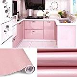 Stickers cuisine 60 x 500 cm meuble Armoires étanche Papier peint Autocollant de Cuisine  rose Film en PVC